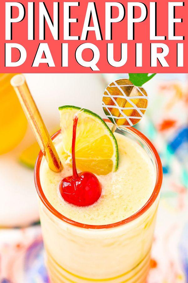 Pineapple Daiquiri Frozen Drink Recipes Frozen Cocktail Recipes Daiquiri
