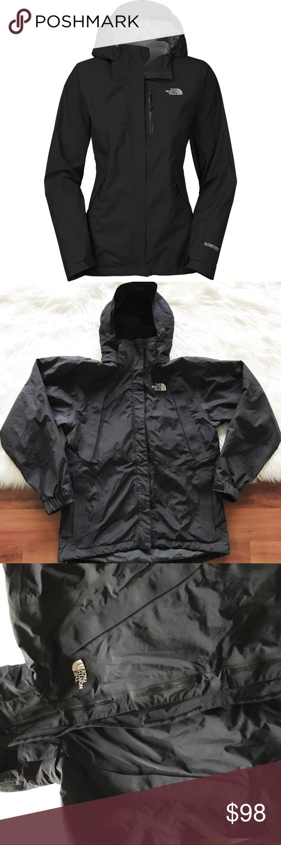 """North Face black Dryzzle Gore-Tex Jacket Excellent condition, size medium! 6 pockets, removable hoodie. Double zipper and Velcro closure. Waterproof.Armpit to armpit 22"""" Armpit down17"""".  NO TRADES North Face Jackets & Coats"""