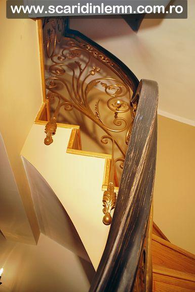 scara interioara lemn, mana curenta lemn curbat, placare trepte lemn, pret proiectare amenajare