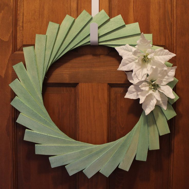 DIY Wooden Shim Wreath - See the details and Try it yourself or Buy it at www.steviestorck.com!   {Green & white, bottle green, poinsettia, wood shim, DIY, tutorial, holiday decorating, winter decor, wreath}