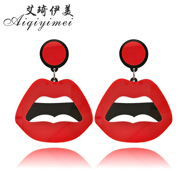 New Fashion Large Red Mouth Lips Hiphop Earrings Exaggerated Expression Acrylic Long Drop Earrings for women Club Bar Jewelry