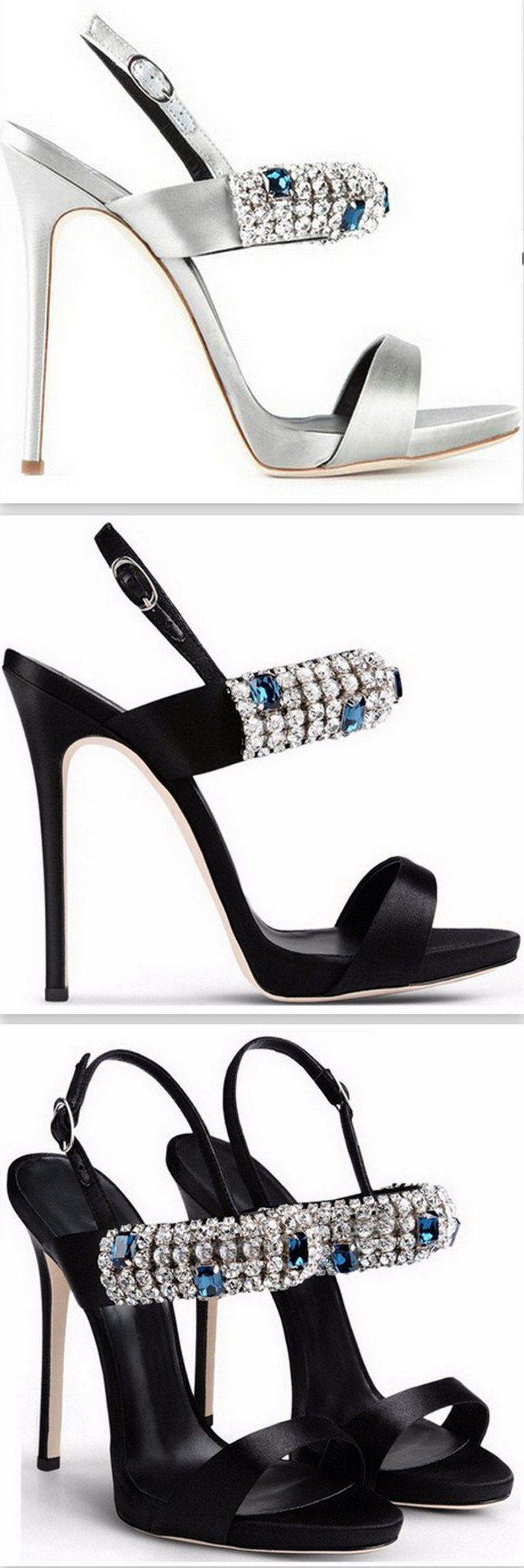 Jeweled Strap Sandals in Silver or Black #giuseppezanottiheelssilver