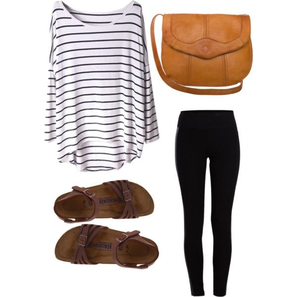 Leggings lose shirt with stripes and Birkenstock sandals for a warm summer…
