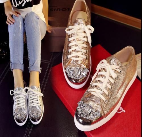 Girls Lace Up Oxford Sneakers Casual Shoes Womens Seuiqns Rhinestone Glitter Sz