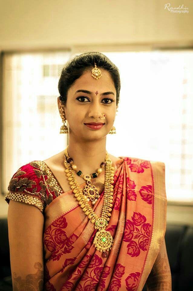 South Indian bride. Temple jewelry. Jhumkis.red silk kanchipuram sari.Braid with fresh flowers. Tamil bride. Telugu bride. Kannada bride. Hindu bride. Malayalee bride.Kerala bride.