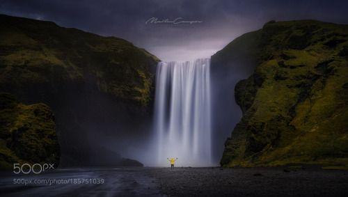 Skogafoss by miguelangelmartin  yellow blue waterfall iceland skogafoss wbpa el chino cudeiro miguelangelmartin