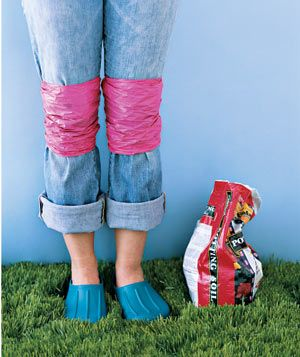 Gardeners can go easy on their jeans with homemade knee pads. A couple of plastic bags tied on keep them grime-free.