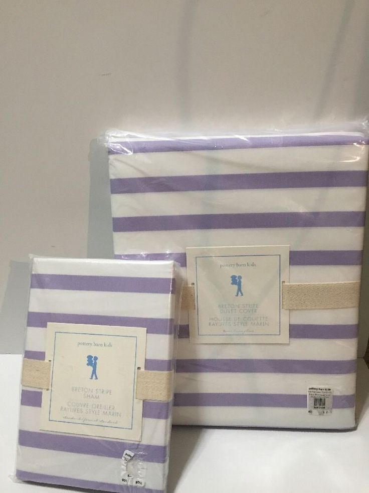 Pottery Barn Kids Twin Duvet Cover & Sham Breton Stripe Lavender Purple NIP  | eBay