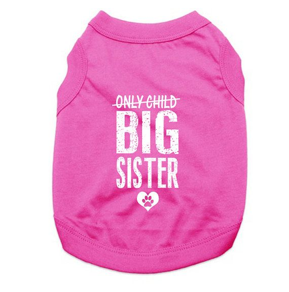 These cute large breed sized dog clothes are very comfortable for your pooch to run about in! The cute saying on the shirt is available in white or black ink. These doggie tank tops are made of 65% cotton, 35% polyester and are available in several different colors and sizes.  This custom dog shirt has the following printed on it, Only Child (crossed out), Big Sister. A great gift for an expecting mother or a great way to surprise your family with the news!  White ink is generally used on…