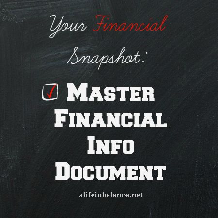 A master financial document pulls all of your family's financial information and other important information like social security numbers together in one place.