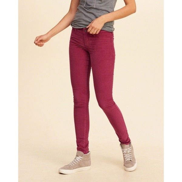 Hollister Low-Rise Super Skinny Corduroy Pants ($20) ❤ liked on Polyvore featuring pants, zip pants, zipper trousers, five pocket pants, pink corduroy pants and corduroy trousers