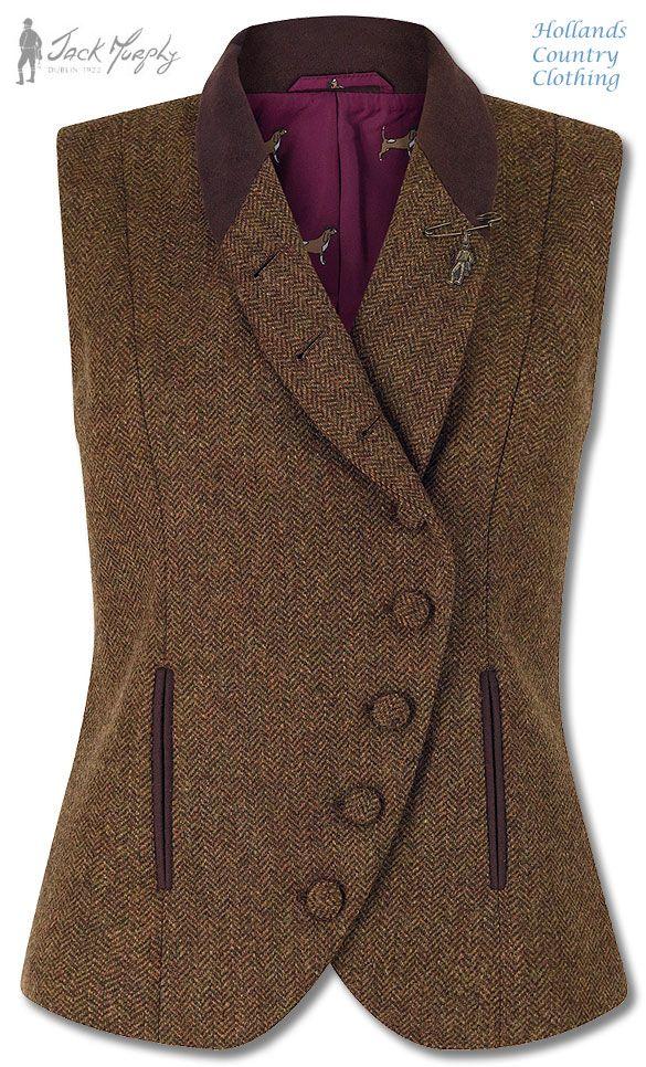 Ladies tweed waistcoat lucille