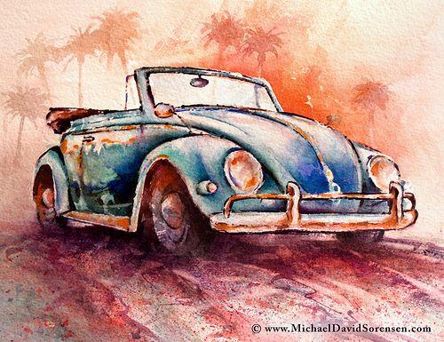 Just a mini 9 x 12 inch watercolor of a 50's convertible Bug.  www.MichaelDavidSorensen.com