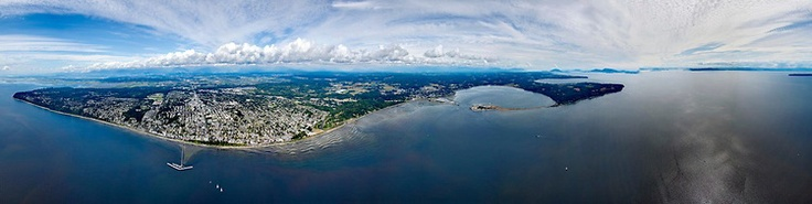 Gorgeous #WhiteRock Aerial Photo - OCEAN VIEWS from a spectacular 360 degree aerial panorama of the Peninsula, taken from White Rock over the Pacific Ocean.