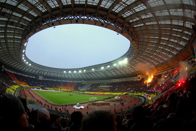 (Soccer) Luzhniki stadium, Moscow, Russia, home of CSKA and Spartak, by yulia vadimovna, via Flickr