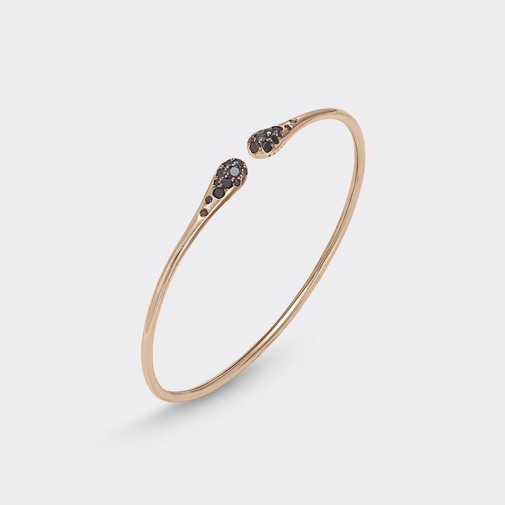 Bracelet in 18 kt rose gold with black diamonds and diamonds