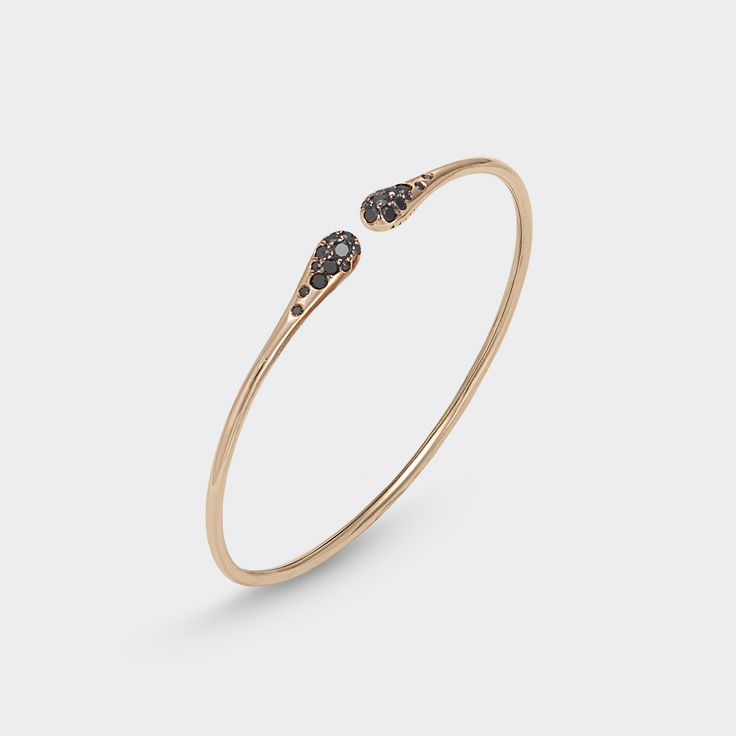 Bracelet in 18 kt rose gold with black diamonds and diamonds