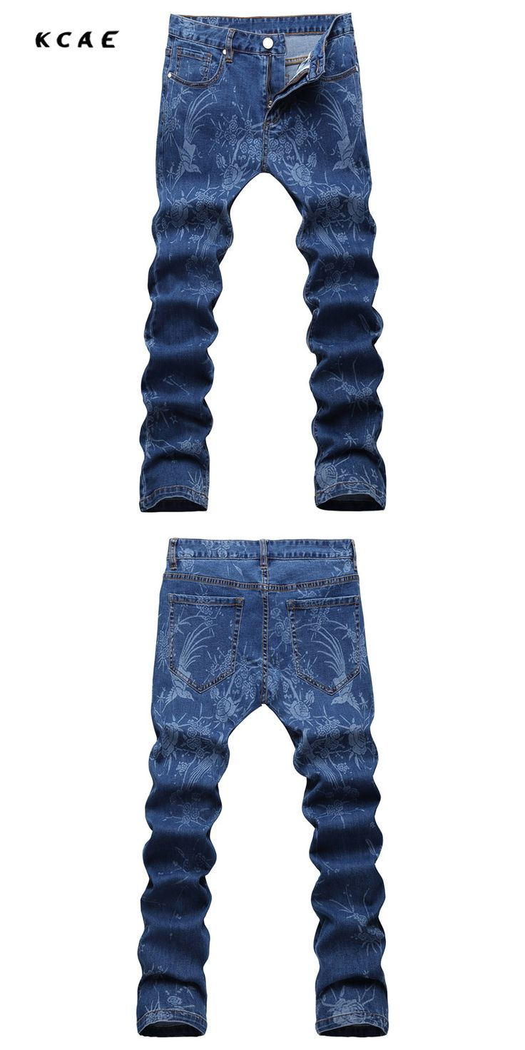 New 2017 Blue Flowers Print Jeans Mens Club Outfits Fancy Stage Costume Denim Jeans Homme Mens Dress Pants Slim Fit Pantalones