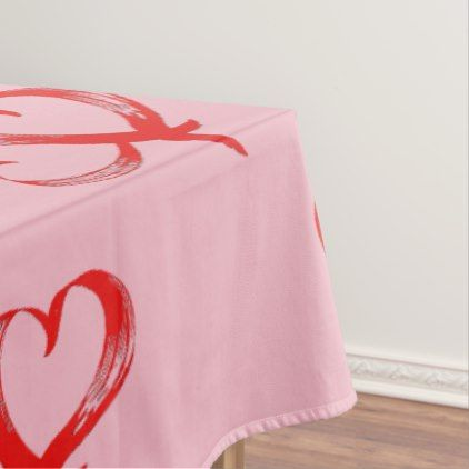 Twin Hearts Valentine Pink Tablecloth - kitchen gifts diy ideas decor special unique individual customized