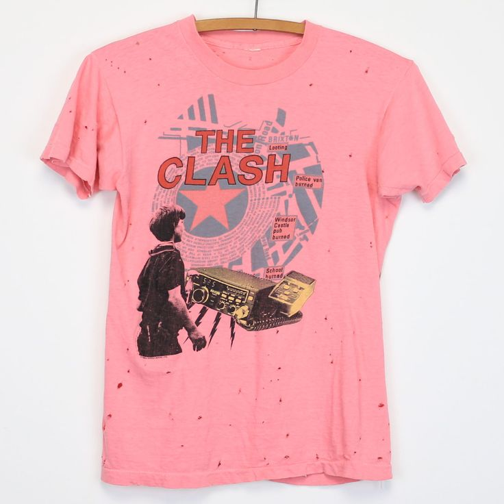 Original 1984 Clash Out Of Control Tour Shirt. This is a true vintage shirt, not a modern reproduction. Sizes vary so please use measurements for best idea on fit. Front and Back Graphics. Shirt is in worncondition, no stains, holes all over.