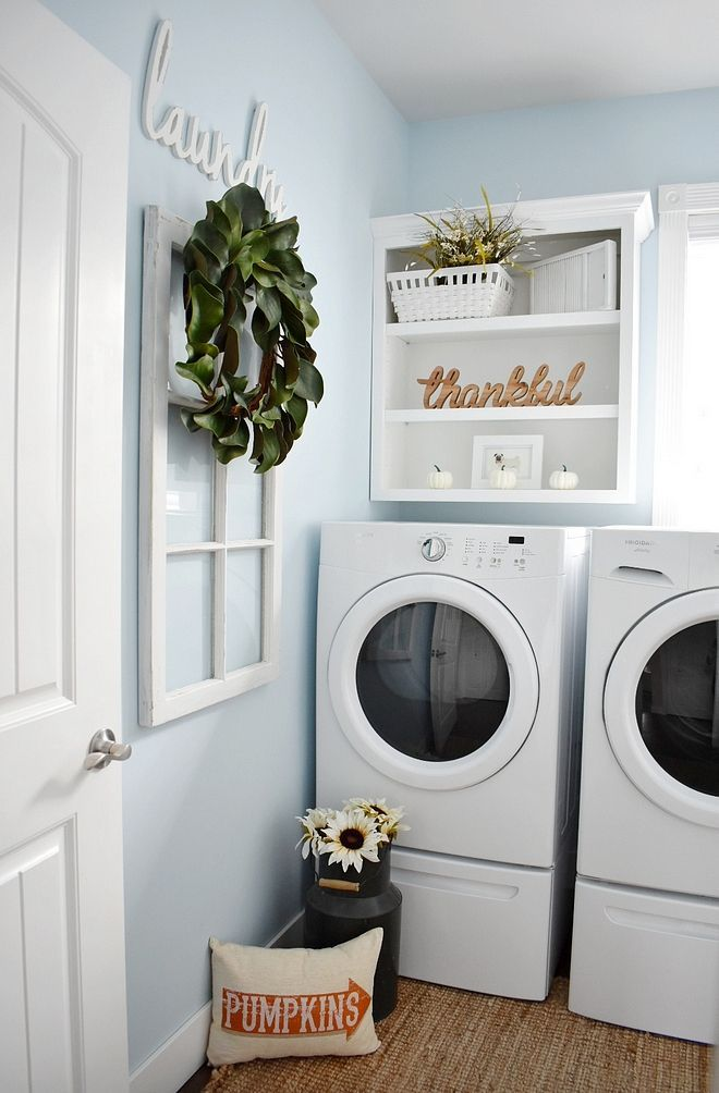 Laundry Room Wall Decor Thankful Sign Wreath And Plants Laundryrooms Laundryroommakeover L Light Blue Rooms Blue Laundry Rooms Laundry Room Paint Color