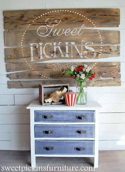 {Before & After} Antique Dresser w/Denim Treatment | Sweet Pickins Furniture