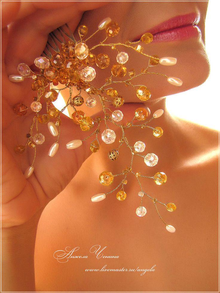 Купить Золотистый гребень - золотистый гребень, гребень золотого цвета, гребень свадебный, свадебный гребень