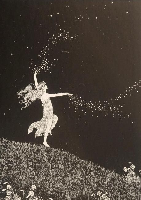 Ida Rentoul Outhwaite ~ Fairy Beauty Scattering Stars ~ The Enchanted Forest ~ 1921  Wishing we could scatter peace around the world like the fairy is scattering stars.