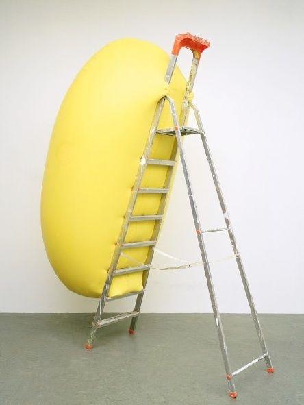 Hans Hemmert, Yellow sculpture fitting to ladder, 1998