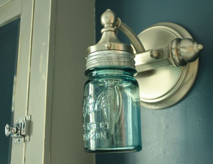 DIY Ball Mason Jar Bathroom Sconce Light