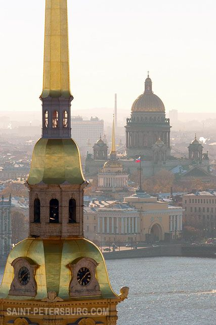 Aerial View of St. Petersburg with the Tallest Building of Historic City