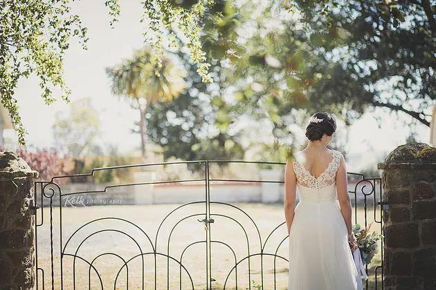 Our beautiful bride Frances wearing custom Sophie Voon Bridal.