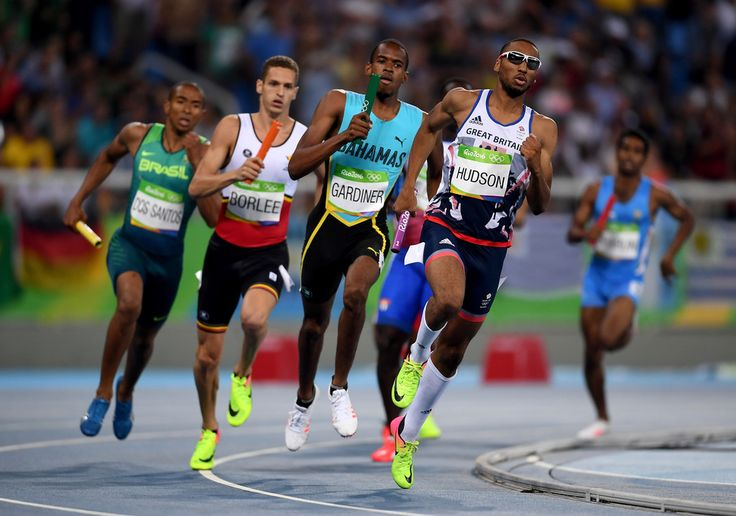 Matthew Hudson-Smith of Great Britain competes in Round One of the Men's 4 x 400m Relay on Day 14 of the Rio 2016 Olympic Games at the Olympic Stadium on August 19, 2016 in Rio de Janeiro, Brazil.