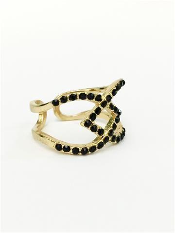 La Bella Donna - Γυναικείο δαχτυλίδι με μαύρα στρας