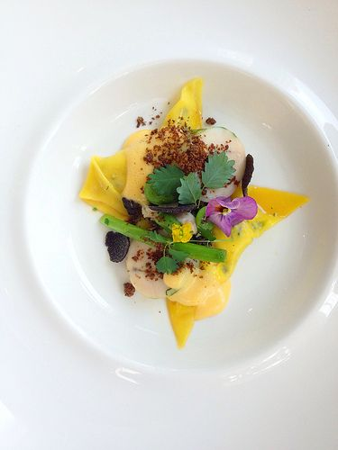 Chicken - free range, poached and in ravioli - procini, nettle, truffle and champagne sabayon. [Lake House - Daylesford, Victoria, Australia]