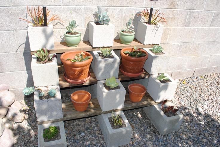 A cinder block succulent garden idea