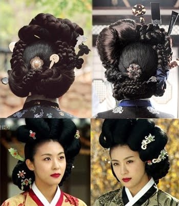 various productions of Hwang Jin Yi. These braids seem to be fastened around a metal/plastic? stand, which is then placed on the head for support. If you watch this video of a lady getting dressed up for a photo package in Korea, you will see how the wig comes on a stand and is positioned around the head. This ridiculous getup that resembles a funeral wreath illustrates it more clearly. Braid around a braid around a braid.