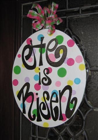 """He is Risen"" egg for Easter decor britt_whit: Risen Eggs, Doors Hangers, Easter Decoration, Celebrity Easter, Easter Doors, Doors Decoration, Easter Wreaths, Doors Signs, Doors Hanging"