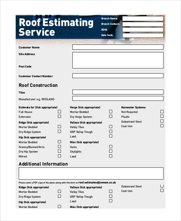 Roofing Estimate Template Roofing Estimate Estimate Template Roofing