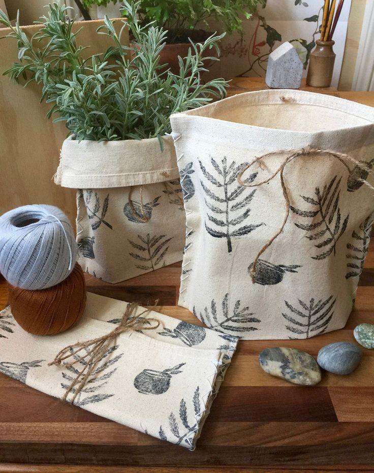 Fire Fern and Cauldron Cloth Pot/Bag by TheElfsmialCorner on Etsy