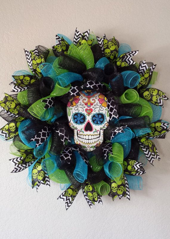 Hey, I found this really awesome Etsy listing at https://www.etsy.com/listing/205293836/halloween-sugar-skull-wreath