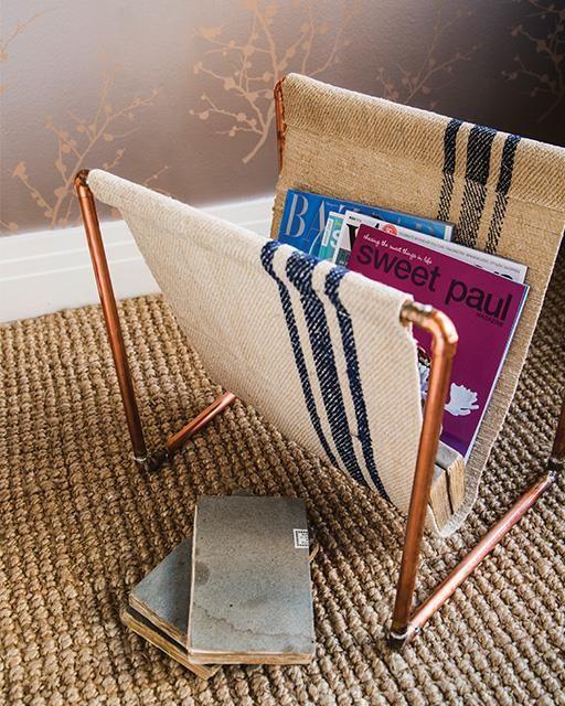 Copper Pipe Magazine Stand