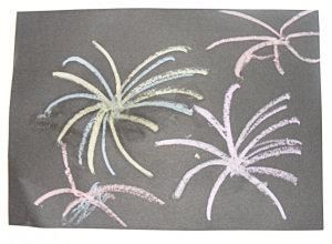 Sparkly Chalk Fireworks Picture
