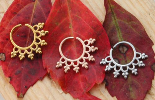 16G-Floral-Round-Indian-Septum-Nose-Jewelry-Ornate-Beaded-Spiked-Capture-Ring-US