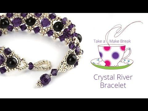 Learn how to make this pretty Crystal River Bracelet using Swarovski pearls, seed beads and faceted round beads! This kit is still available here - http://go...