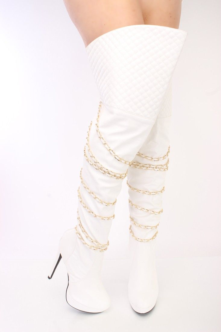White Leather High Heel Boots