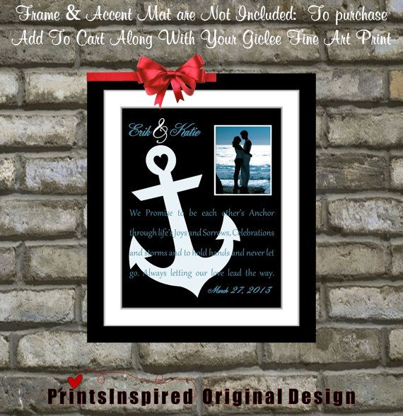 Nautical Anchor Wedding Gift Song Lyric Vows: Most Popular Wedding Anniversary Gifts Engagement Print Unique Anchor Picture Home Decor Art