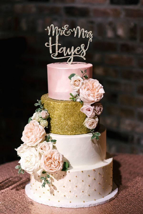 Pink and gold cake   #wedding #weddinginspiration #engaged #weddings #aislesociety #pink