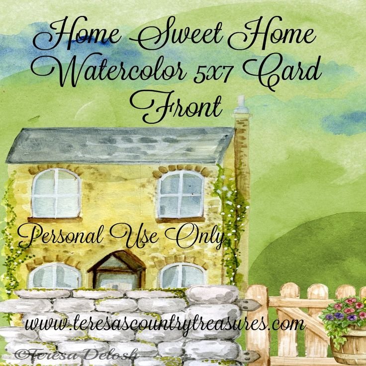 #Home Sweet Home #Watercolor 5x7 #Card Front #Printable