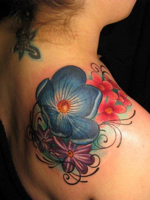 Amazing Blue Flower Female Tattoos (13)
